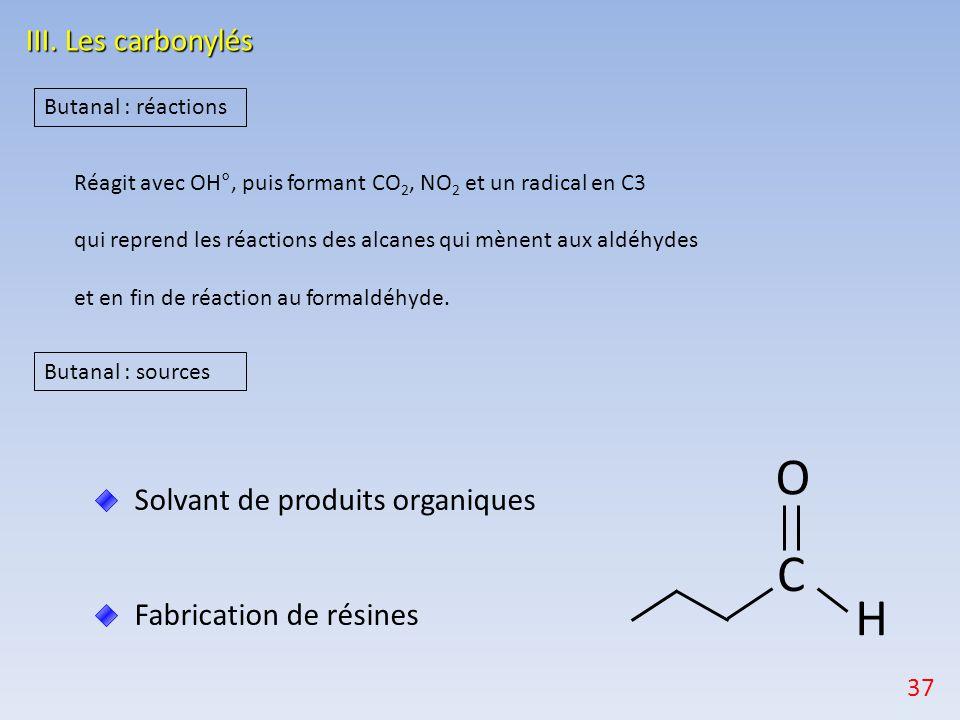 O C H III. Les carbonylés Solvant de produits organiques