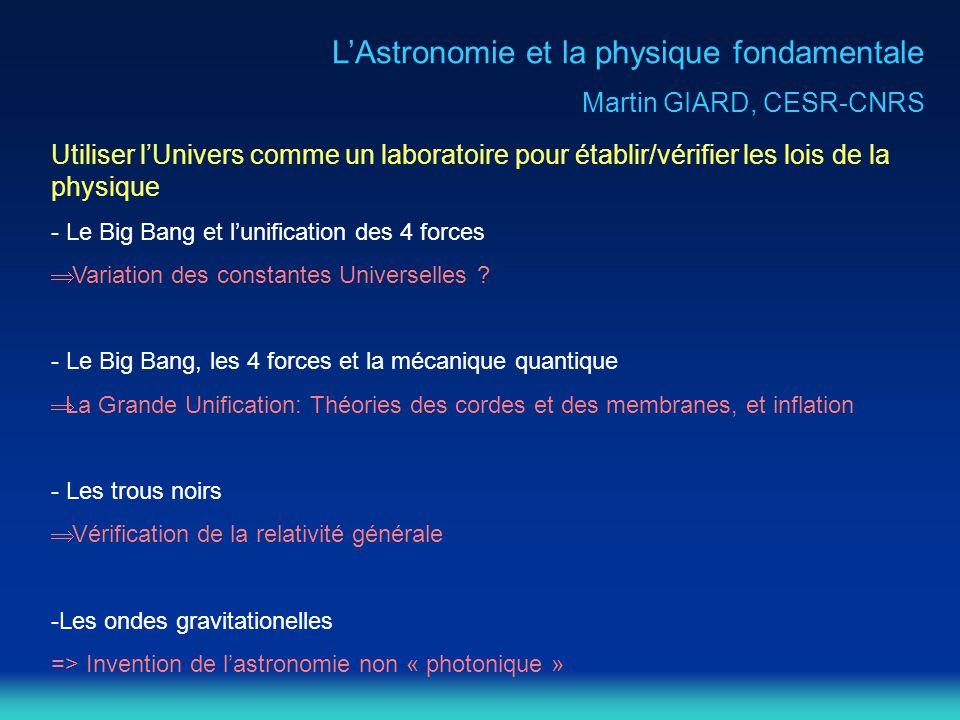 L'Astronomie et la physique fondamentale
