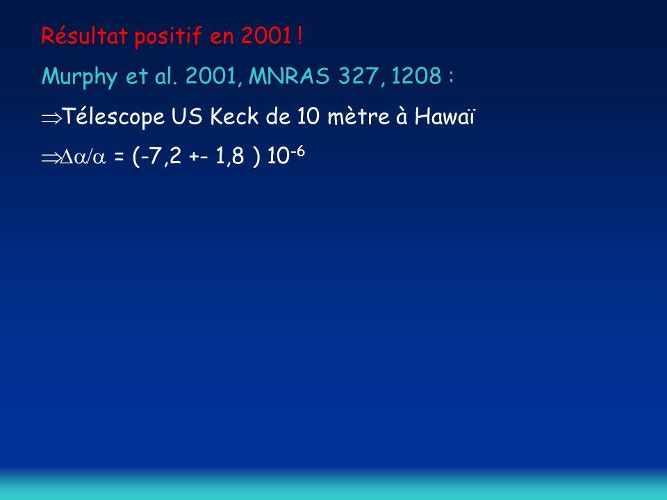 Résultat positif en 2001 ! Murphy et al. 2001, MNRAS 327, 1208 : Télescope US Keck de 10 mètre à Hawaï.
