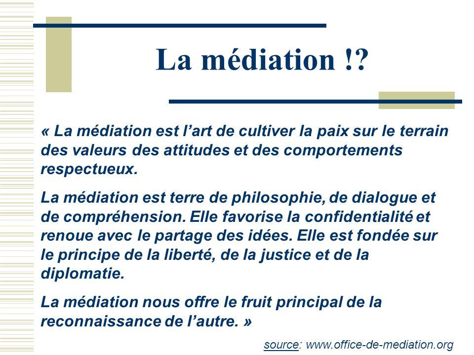 La médiation ! « La médiation est l'art de cultiver la paix sur le terrain des valeurs des attitudes et des comportements respectueux.