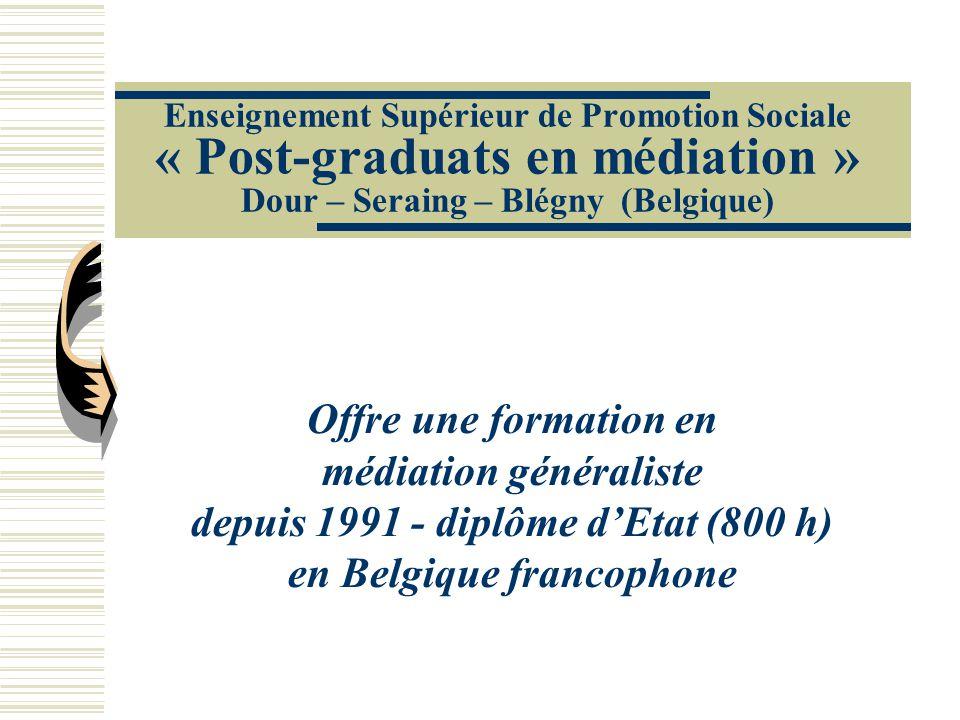 médiation généraliste depuis 1991 - diplôme d'Etat (800 h)