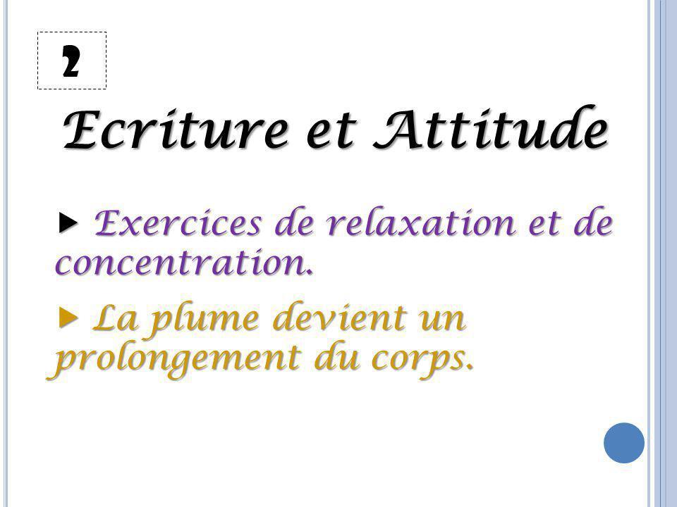 Ecriture et Attitude 2  Exercices de relaxation et de concentration.