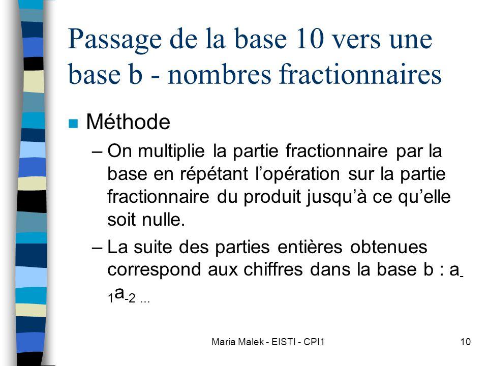 Passage de la base 10 vers une base b - nombres fractionnaires