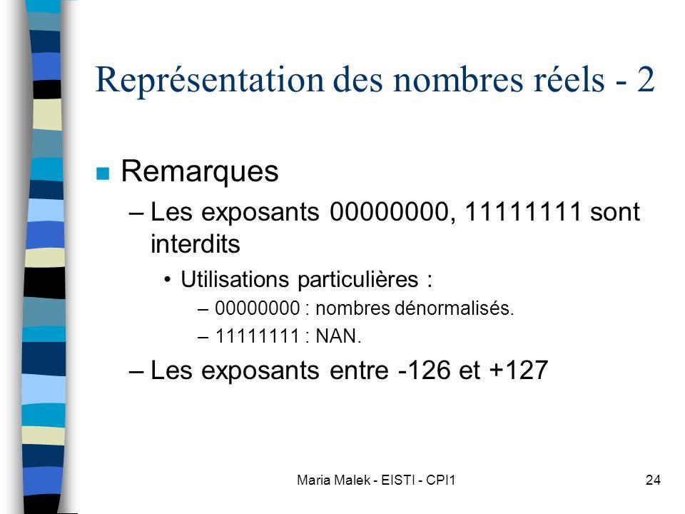 Représentation des nombres réels - 2