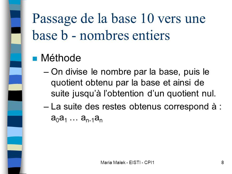 Passage de la base 10 vers une base b - nombres entiers