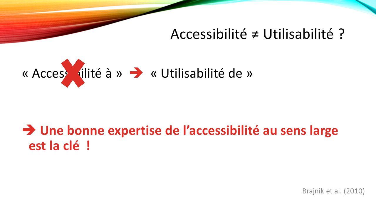 Accessibilité ≠ Utilisabilité