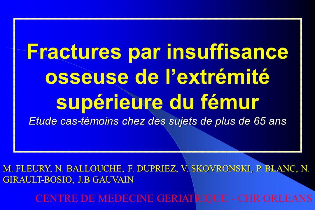 Fractures par insuffisance osseuse de l'extrémité supérieure du fémur Etude cas-témoins chez des sujets de plus de 65 ans