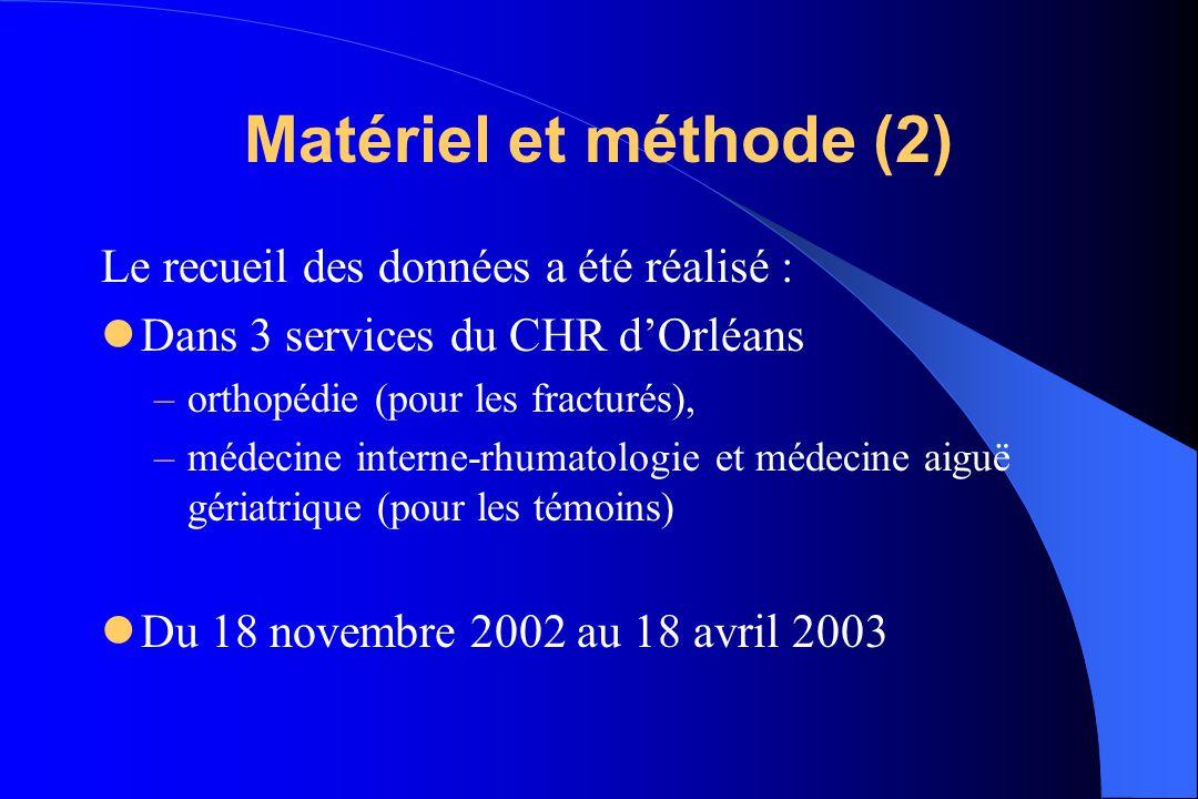 Matériel et méthode (2) Le recueil des données a été réalisé :