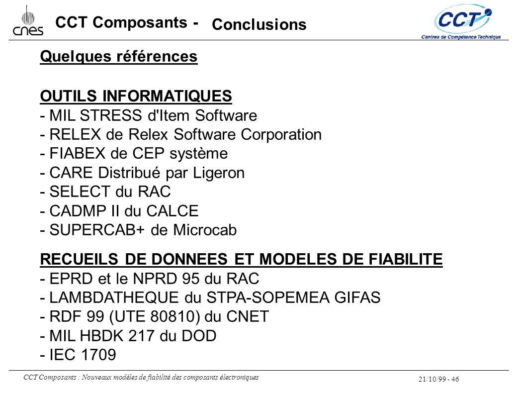Conclusions Quelques références. OUTILS INFORMATIQUES. - MIL STRESS d Item Software. - RELEX de Relex Software Corporation.