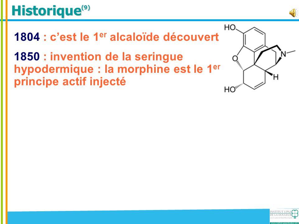 Historique(9) 1804 : c'est le 1er alcaloïde découvert