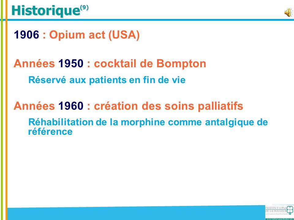 Historique(9) 1906 : Opium act (USA) Années 1950 : cocktail de Bompton