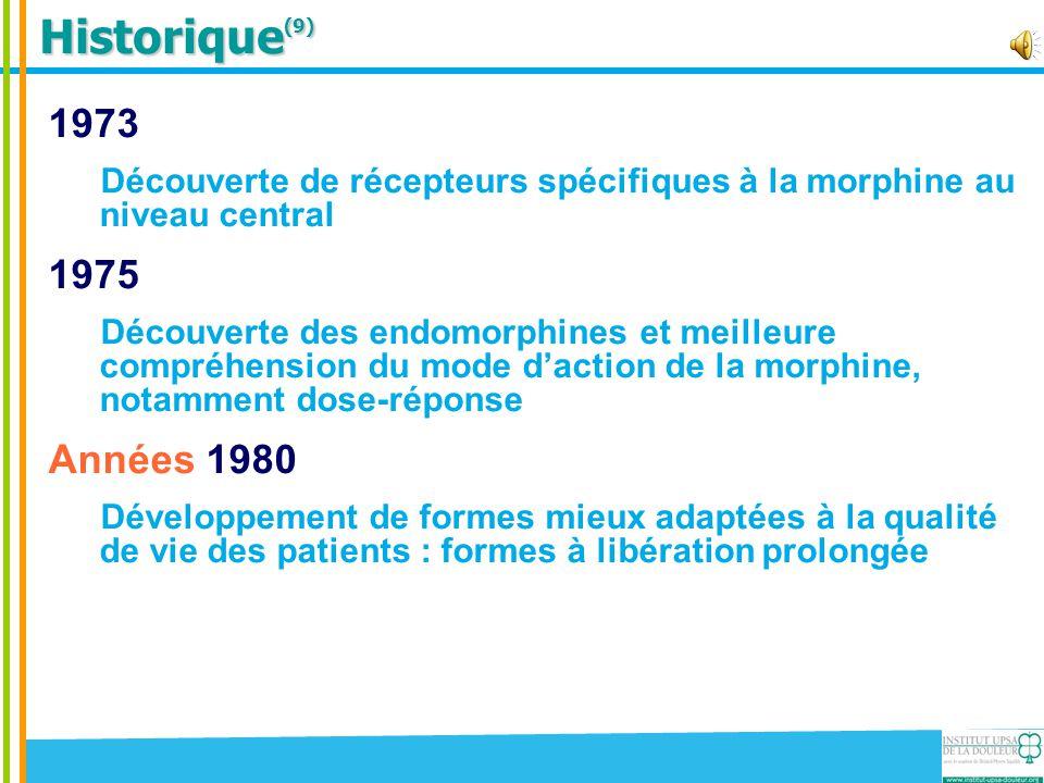 Historique(9) 1973. Découverte de récepteurs spécifiques à la morphine au niveau central. 1975.