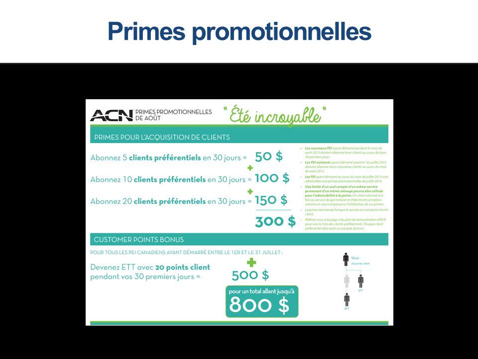 Primes promotionnelles
