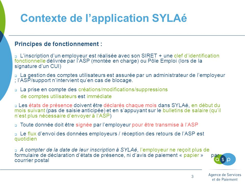 Contexte de l'application SYLAé