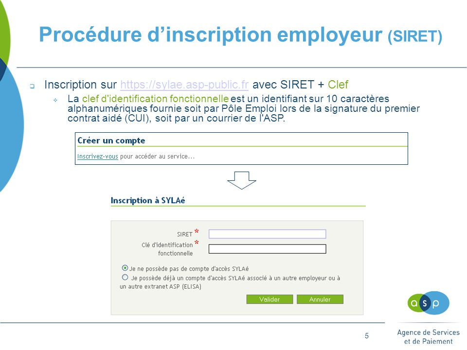Procédure d'inscription employeur (SIRET)
