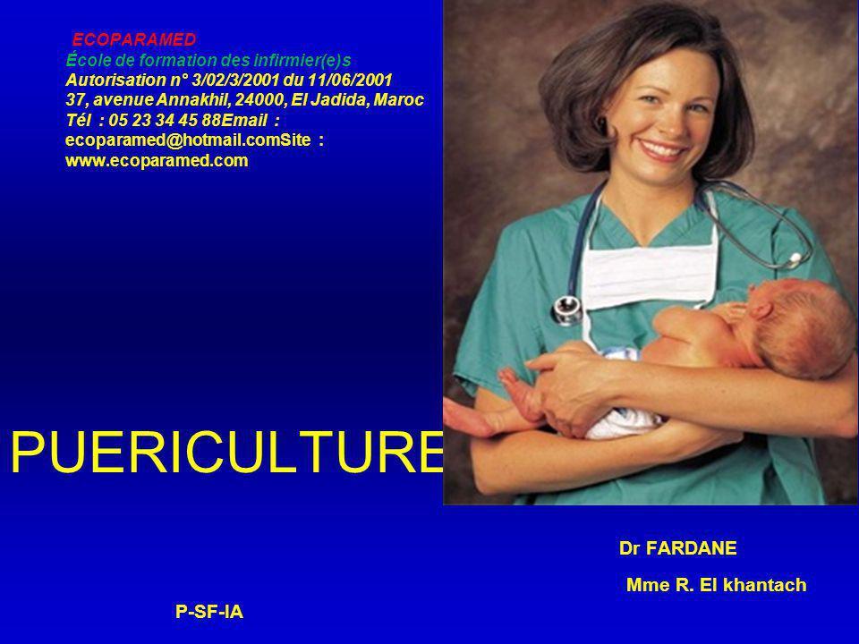 PUERICULTURE Dr FARDANE Mme R. El khantach P-SF-IA