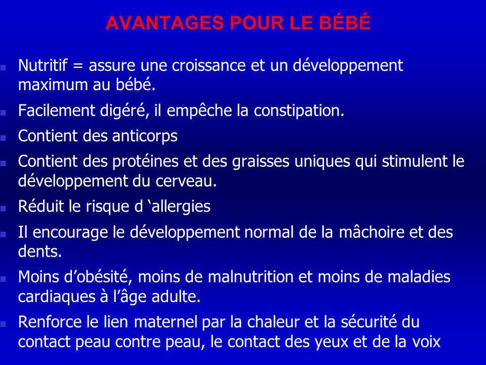 AVANTAGES POUR LE BÉBÉ Nutritif = assure une croissance et un développement maximum au bébé. Facilement digéré, il empêche la constipation.