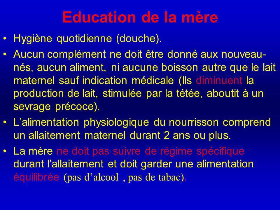 Education de la mère Hygiène quotidienne (douche).