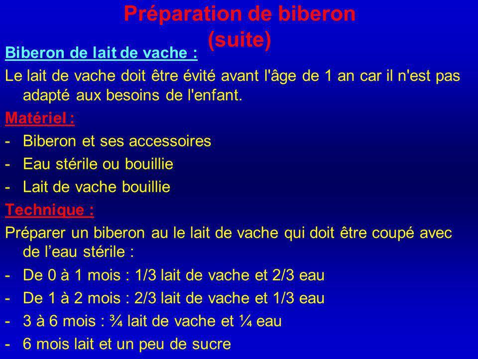 Préparation de biberon (suite)
