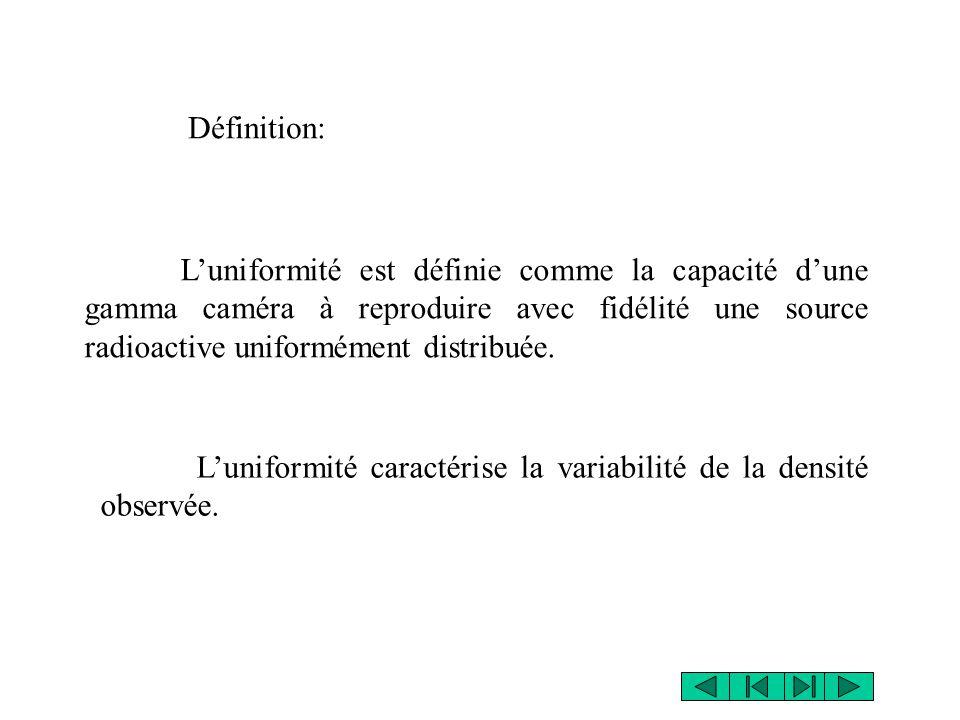 Définition: L'uniformité est définie comme la capacité d'une gamma caméra à reproduire avec fidélité une source radioactive uniformément distribuée.