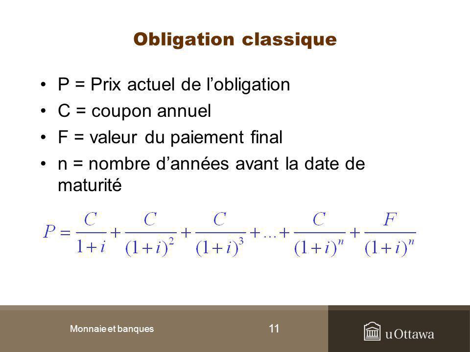 P = Prix actuel de l'obligation C = coupon annuel