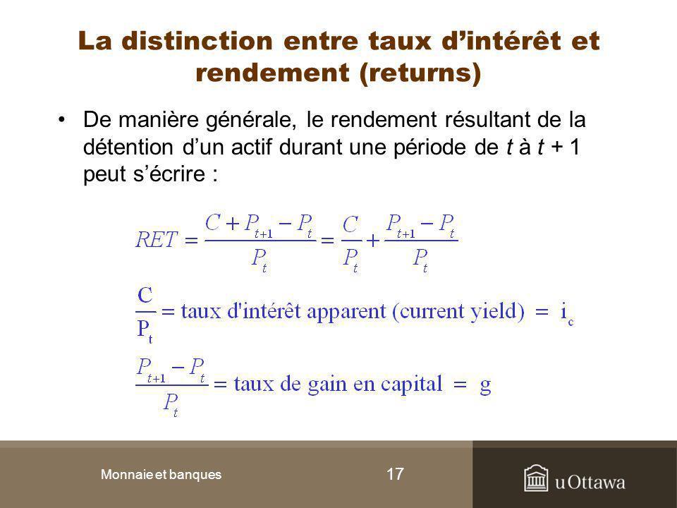 La distinction entre taux d'intérêt et rendement (returns)