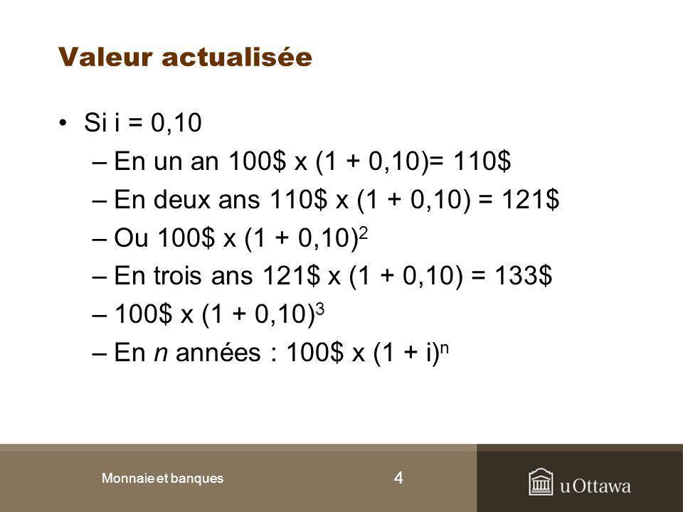 Valeur actualisée Si i = 0,10 En un an 100$ x (1 + 0,10)= 110$