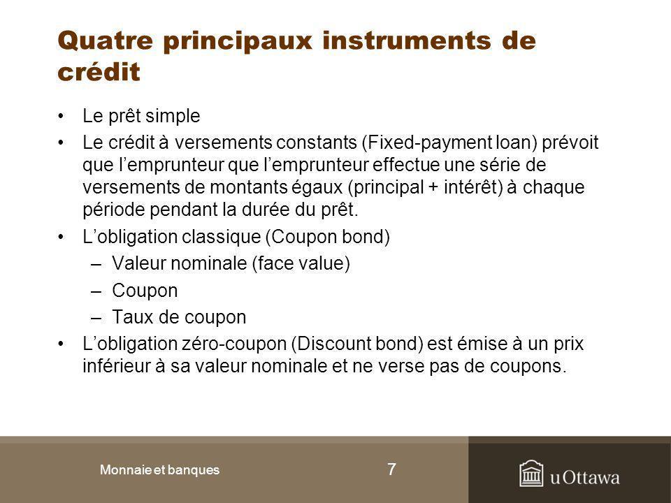 Quatre principaux instruments de crédit