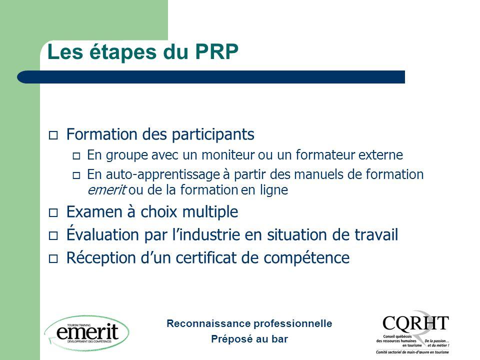 Les étapes du PRP Formation des participants Examen à choix multiple