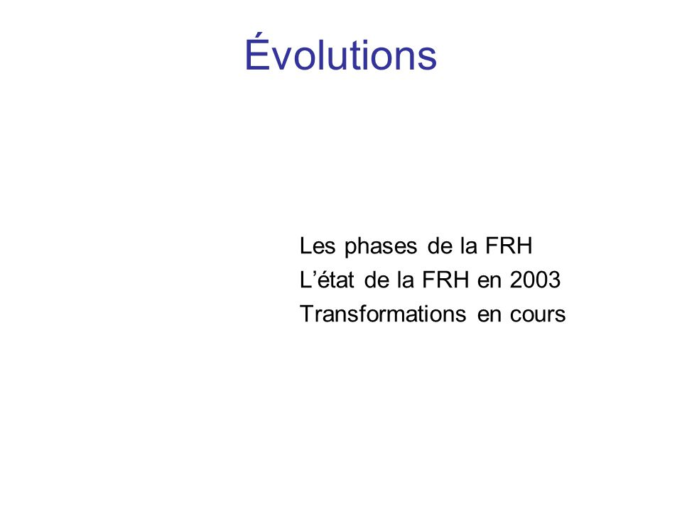 Évolutions Les phases de la FRH L'état de la FRH en 2003