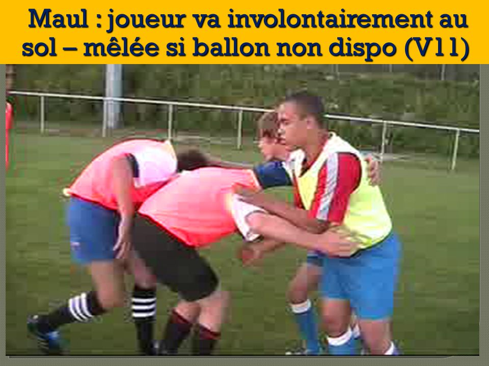Maul : joueur va involontairement au sol – mêlée si ballon non dispo (V11)