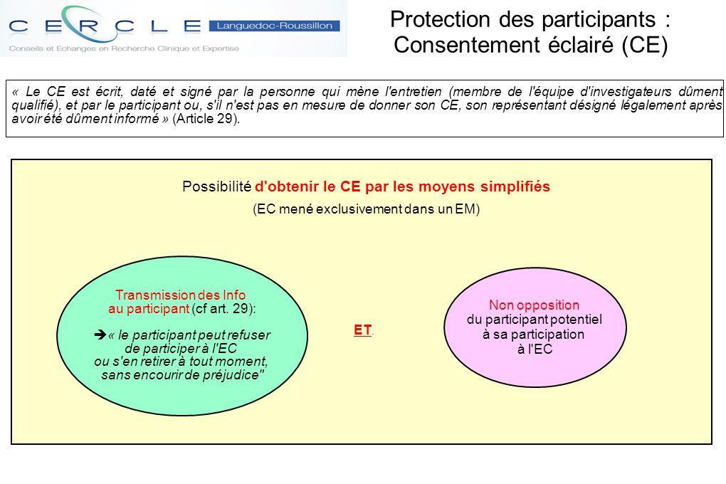 Protection des participants : Consentement éclairé (CE)