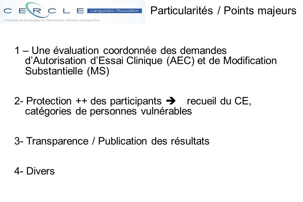 Particularités / Points majeurs