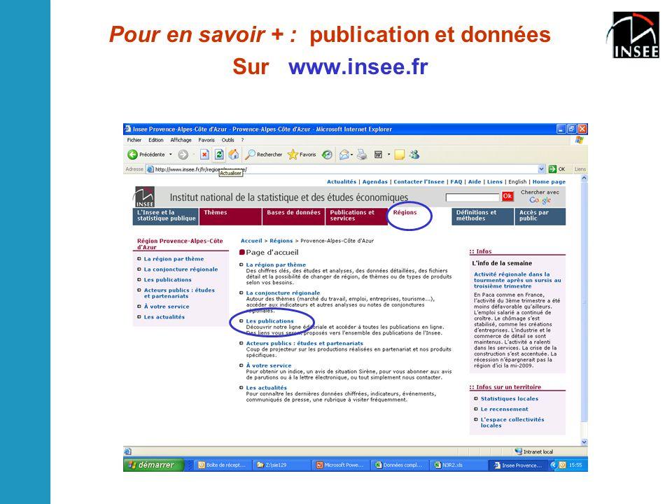 Pour en savoir + : publication et données