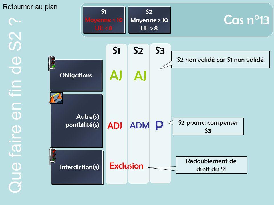 Cas n°13 AJ P S1 S2 S3 ADJ ADM Exclusion Retourner au plan S1 S2