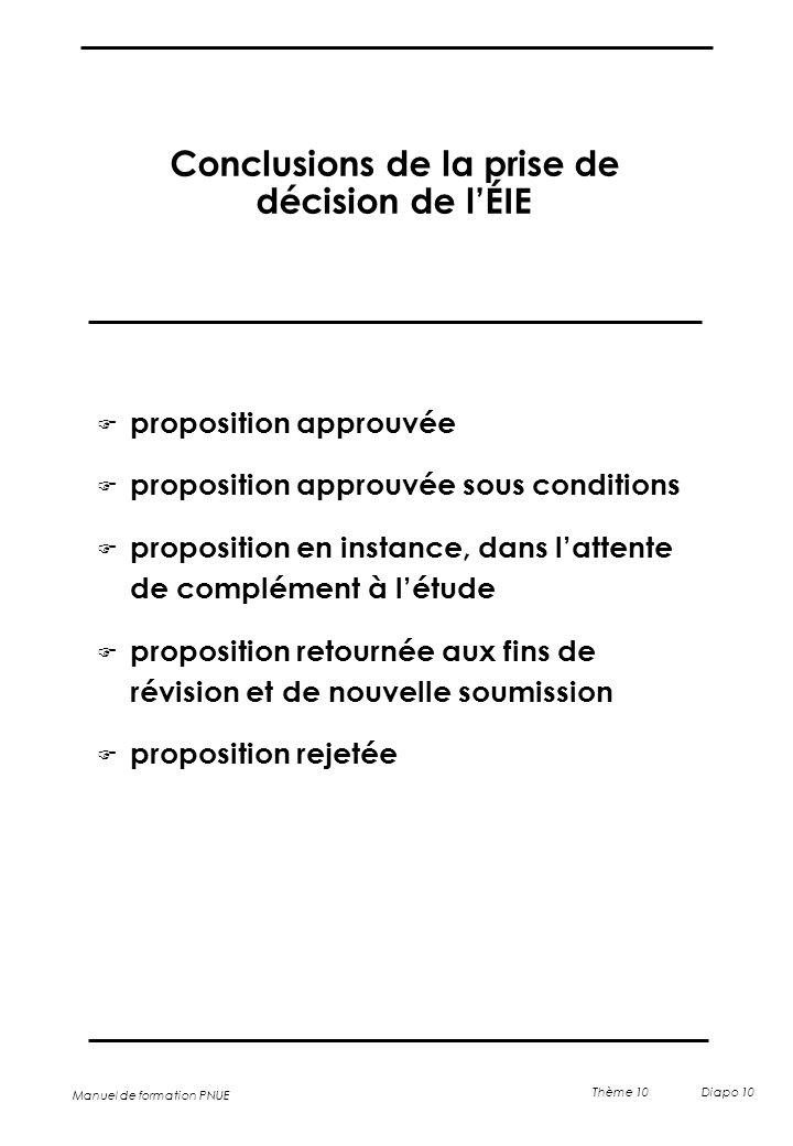 Conclusions de la prise de décision de l'ÉIE
