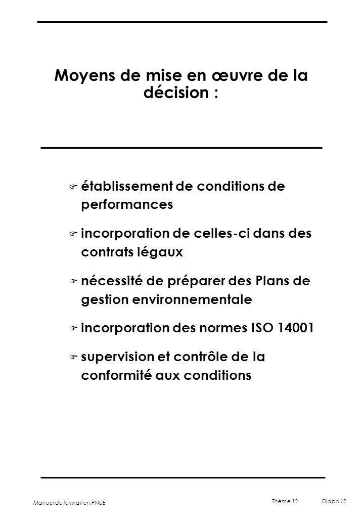 Moyens de mise en œuvre de la décision :