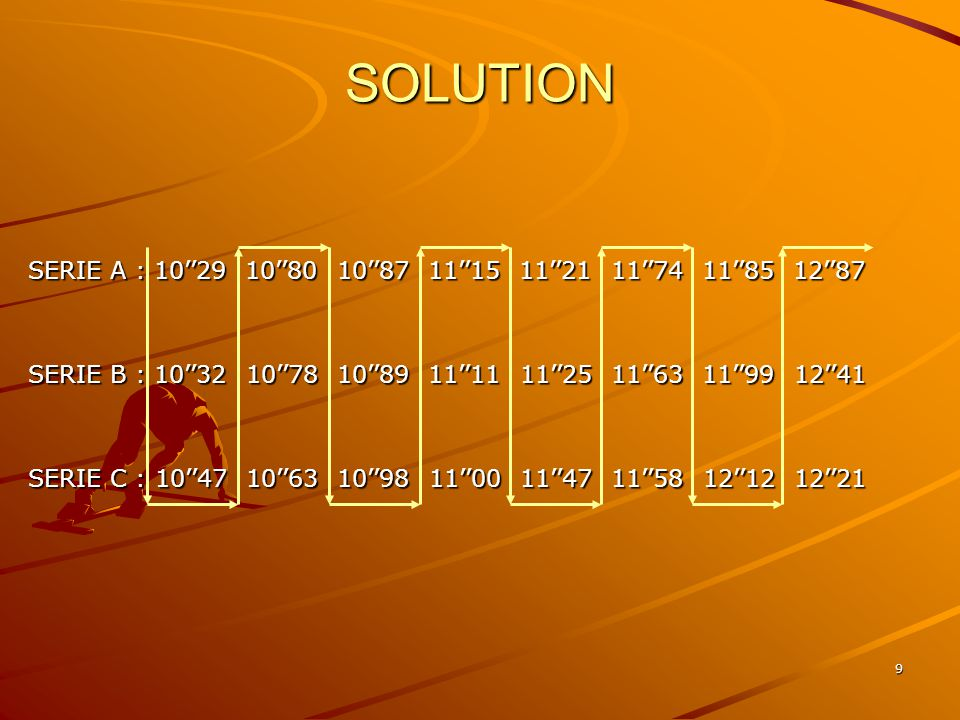SOLUTION SERIE A : 10''29 10''80 10''87 11''15 11''21 11''74 11''85 12''87.