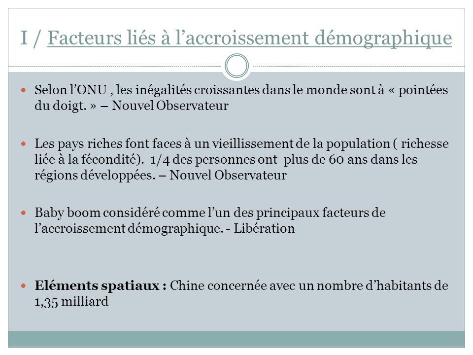I / Facteurs liés à l'accroissement démographique