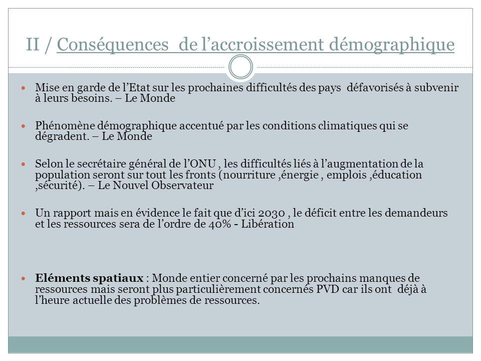 II / Conséquences de l'accroissement démographique