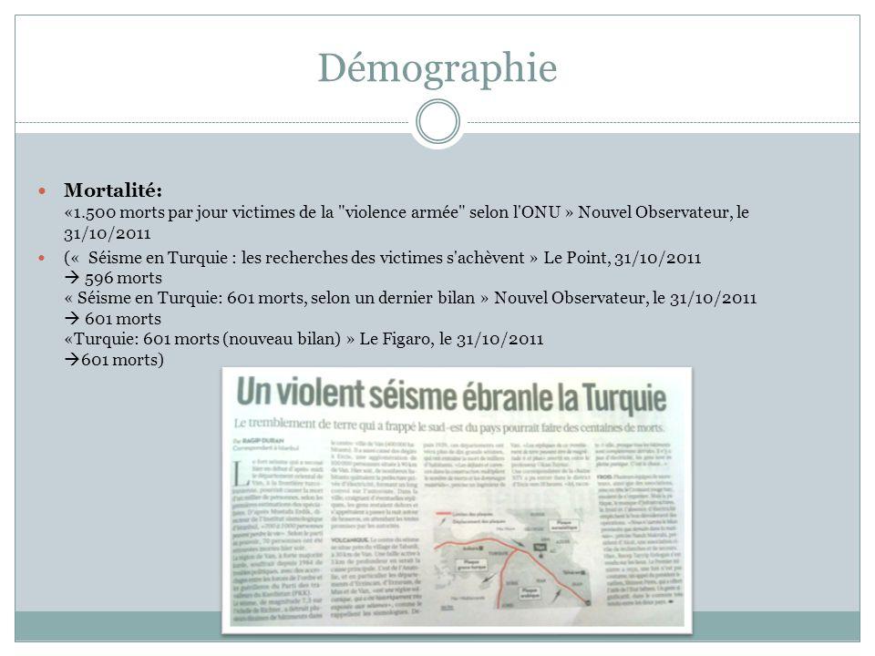 Démographie Mortalité: «1.500 morts par jour victimes de la violence armée selon l ONU » Nouvel Observateur, le 31/10/2011.