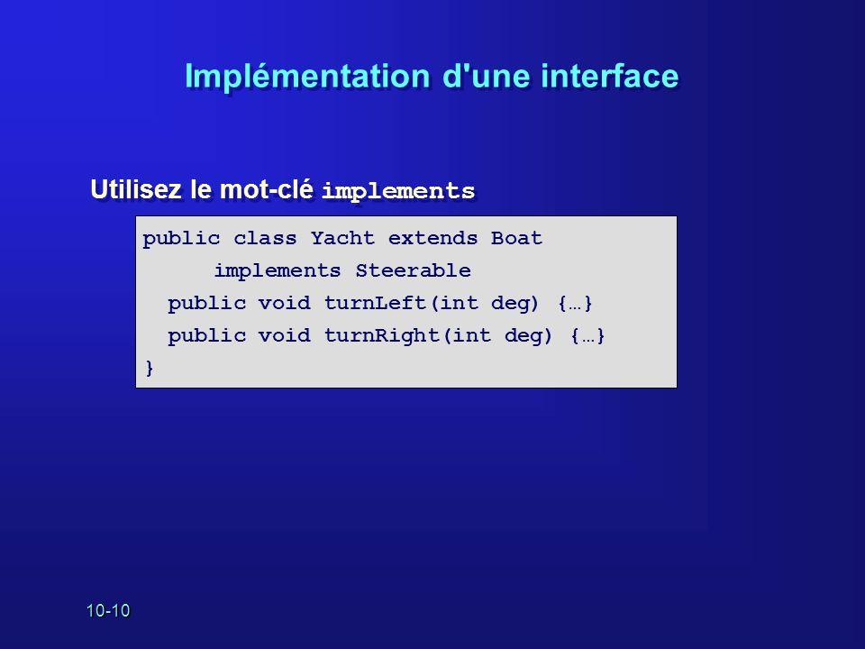 Implémentation d une interface