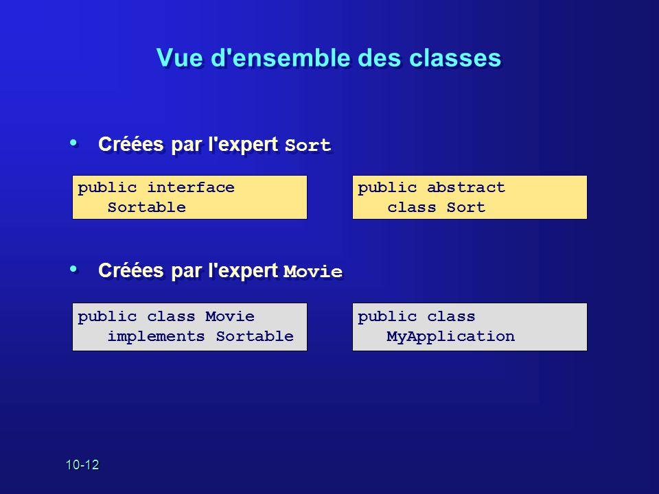 Vue d ensemble des classes