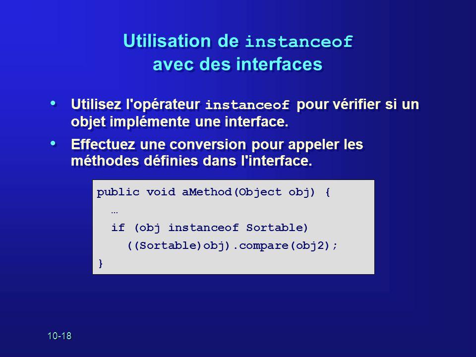 Utilisation de instanceof avec des interfaces