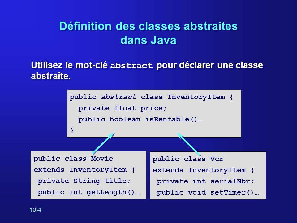 Définition des classes abstraites dans Java