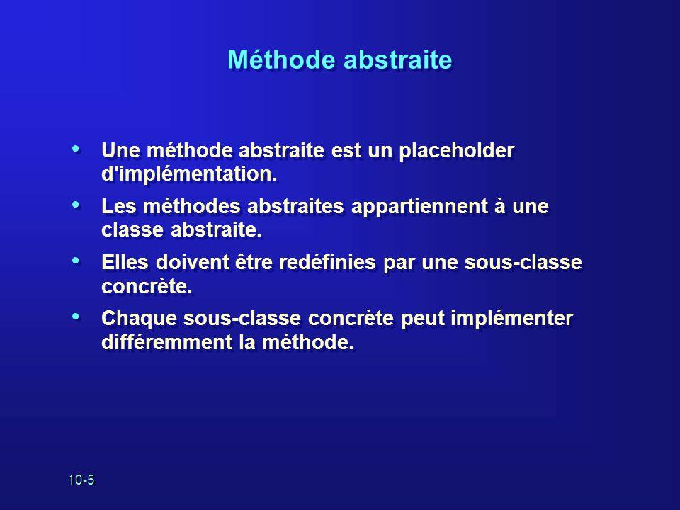 Méthode abstraite Une méthode abstraite est un placeholder d implémentation. Les méthodes abstraites appartiennent à une classe abstraite.
