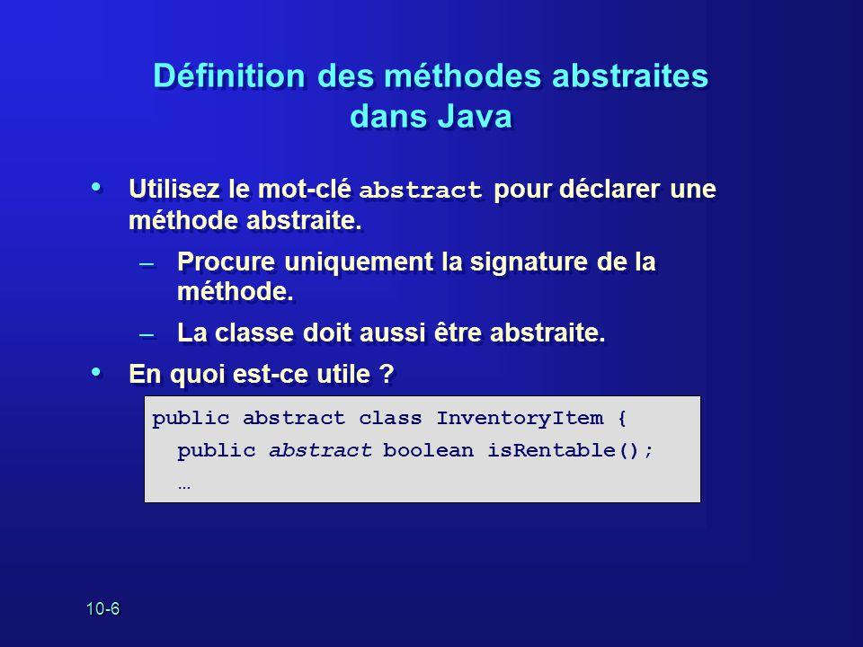 Définition des méthodes abstraites dans Java
