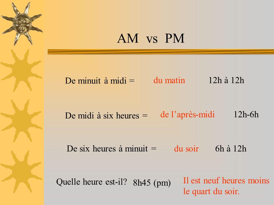 AM vs PM De minuit à midi = du matin. 12h à 12h. De midi à six heures = de l'après-midi. 12h-6h.