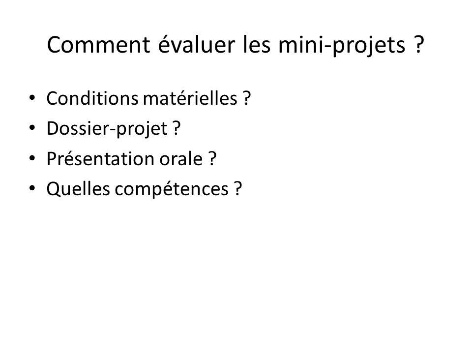 Comment évaluer les mini-projets