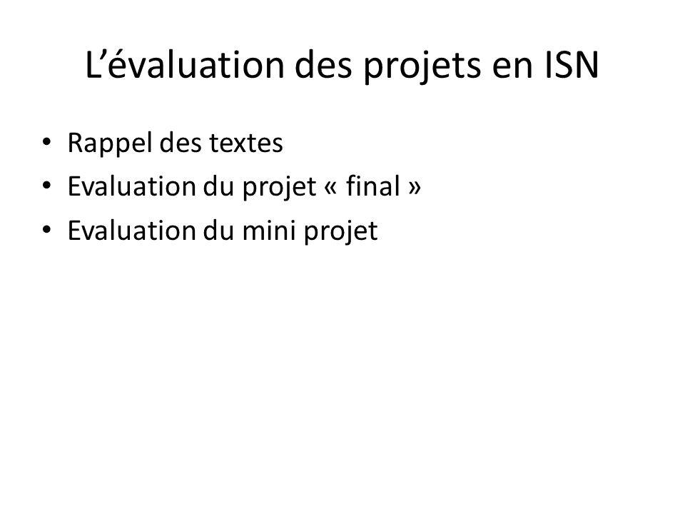 L'évaluation des projets en ISN